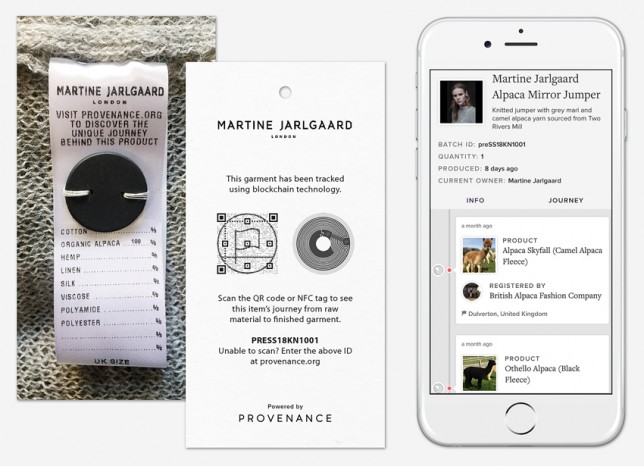 provenance app_Smart labelling, Washable NFC tag on care label, NFC and QRcode swing tag, Blockchain timeline